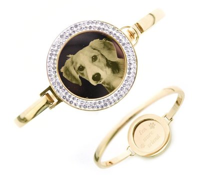 Graveer Armbanden Armband met graveer munt smal goud met strass