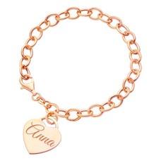 Armband met Naam Bedelarmband met Naambedel rose goud