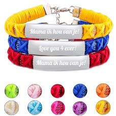 Gevlochten Naam Armband, Keuze uit vele Kleuren