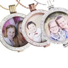 Muntketting kleuren Foto munt, Met Strass in Zilver, (Rosé) Goud
