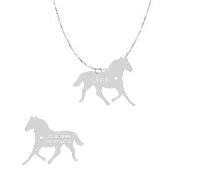 Dieren Sieraden Graveerbare paarden ketting paard