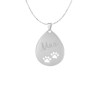 Graveer Sieraad Tekst graveren op hanger hondenpootjes Zilver inclusief ketting