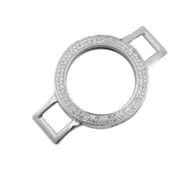 Armband voor munten Munthouder smal voor losse armband zilver met strass van roestvrij staal