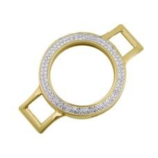 Armband voor munten Munthouder smal voor losse armband goud met strass van roestvrij staal