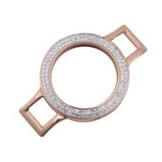 Armband voor munten Munthouder smal voor losse armband rose goud met strass van roestvrij staal