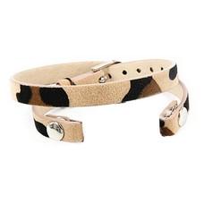 Armband voor munten Losse armband voor munthouder smal leer dubbel luipaard