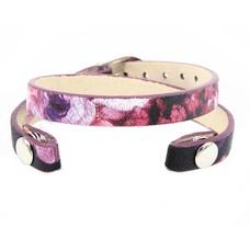 Armband voor munten Losse armband voor munthouder smal leer dubbel paars tropical