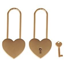 Slot Graveren Liefdesslot hart goud met lange sluiting