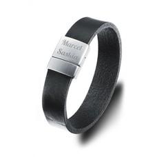 Graveer Armbanden Tekst graveren op leren Tekst Armband zwart