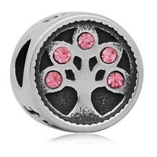 Bedels en Kralen Bedel levensboom roze zilver