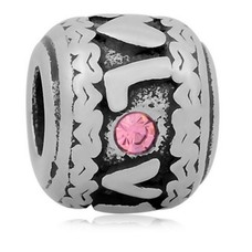 Bedels en Kralen Bedel love roze zilver