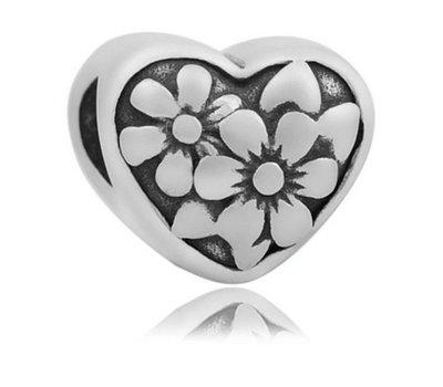 Bedels en Kralen Bedel flower zilver voor bedelarmbanden