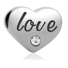 Bedels en Kralen Bedel love geschreven zilver