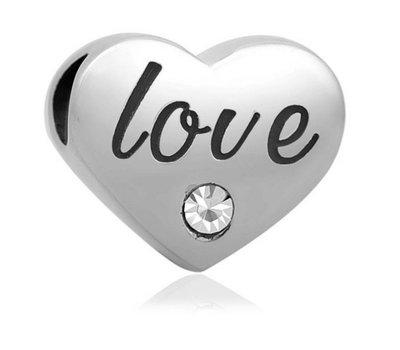 Bedels en Kralen Bedel love geschreven zilver voor bedelarmbanden