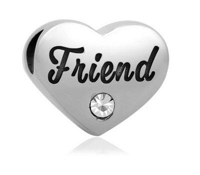 Bedels Kralen Friend geschreven bedel zilver