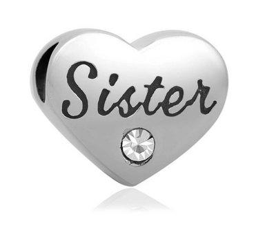 Bedels Kralen Sister geschreven bedel zilver