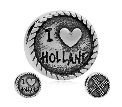 Bedels Kralen I love Holland bedel zilver