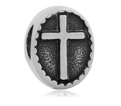 Bedels Kralen Kruis bedel zilver