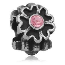 Bedels Kralen Bloem licht roze bedel zilver