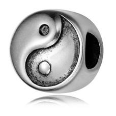Bedels en Kralen Bedel yin yang zilver
