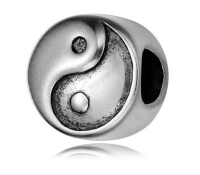 Bedels en Kralen Bedel yin yang zilver voor bedelarmbanden