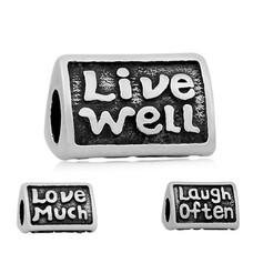 Bedels Kralen Live well bedel zilver