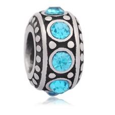 Bedels Kralen Stones blauw bedel zilver