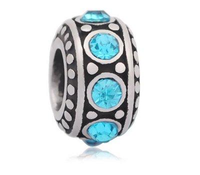 Bedels en Kralen Bedel steentjes blauw zilver voor bedelarmbanden