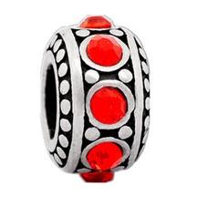 Bedels Kralen Stones rood bedel zilver