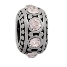 Bedels Kralen Stones wit bedel zilver
