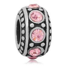 Bedels en Kralen Bedel steentjes roze zilver