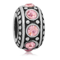 Bedels Kralen Stones roze bedel zilver