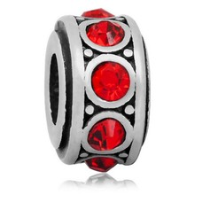 Bedels Kralen Crystals rood bedel zilver