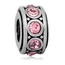 Bedels en Kralen Bedel crystal licht roze zilver