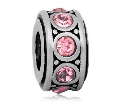 Bedels Kralen Crystals licht roze bedel zilver