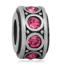 Bedels Kralen Crystals roze bedel zilver