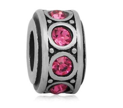 Bedels en Kralen Bedel crystal roze zilver voor bedelarmbanden