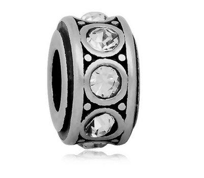Bedels Kralen Crystals wit bedel zilver