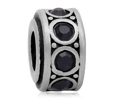 Bedels Kralen Crystals zwart bedel zilver