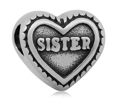 Bedels Kralen Sister hartje bedel zilver