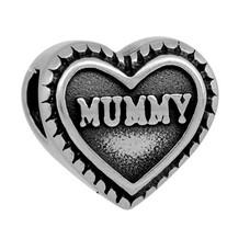 Bedels Kralen Mummy hartje bedel zilver