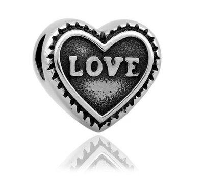 Bedels en Kralen Bedel love hartje zilver voor bedelarmbanden