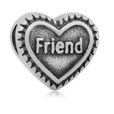 Bedels Kralen Friend hartje bedel zilver