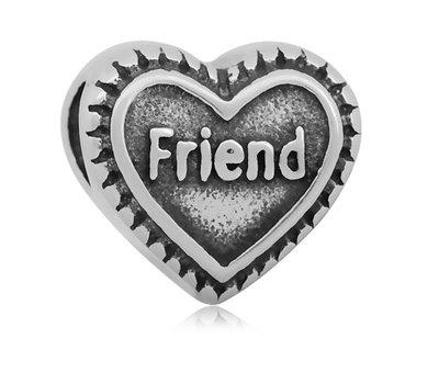 Bedels en Kralen Bedel friend hartje zilver voor bedelarmbanden