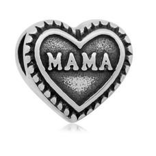 Bedels Kralen Mama hartje bedel zilver