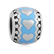 Bedels Kralen Hartjes in blauw bedel zilver