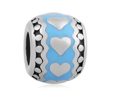 Bedels en Kralen Bedel hartjes in blauw zilver voor bedelarmbanden