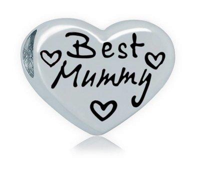 Bedels Kralen Best Mummy hartje bedel zilver