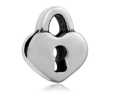 Bedels Kralen Liefdes slot bedel zilver