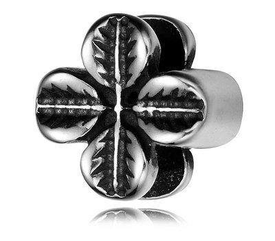 Bedels en Kralen Bedel klavertje vier zilver voor bedelarmbanden